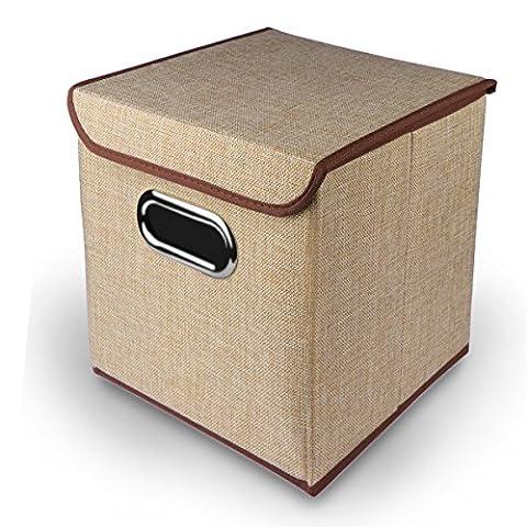 AOZBZ Faltbare Aufbewahrungsbox mit Deckel, Schrank Organizer Box Kleiderschrank Aufbewahrungsbehälter Lagerung Körbe Kästen mit Edelstahl Griff für Kleidung, Spielzeug, Bücher (25 x 25 x 20 cm) (Khaki)