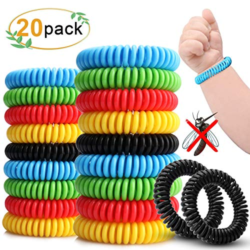 Sporgo Mückenschutz Armband 20 Stück Mückenarmband Armbänder zum Schutz gegen Mücken und Insekten Reise Camping Wandern Zubehör für Kinder und Erwachsene Freundlich (Schwarz, Blau, Gelb, Grün, Rot)