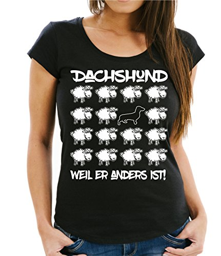 Siviwonder WOMEN T-Shirt BLACK SHEEP - DACHSHUND (Dackel Teckel) - Hunde Fun Schaf Schwarz