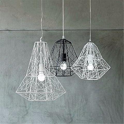 LJSYYR Lampadario lampadario lampada minimalista cafe ristorante luce lampada gabbie metalliche creative , bianco (500*520mm) Lampadario