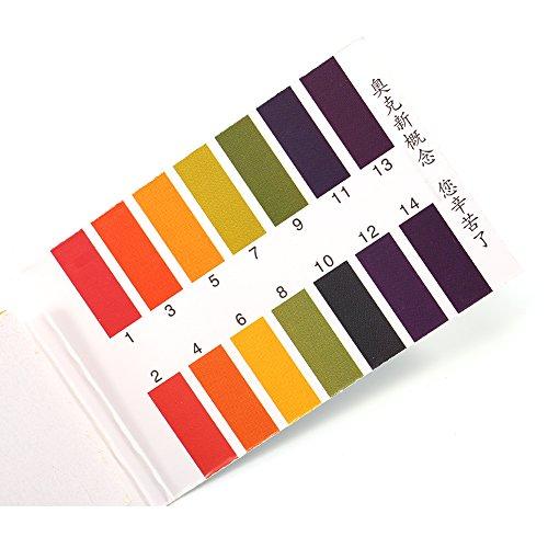 FTVOGUE PH-Testpapier-Testkit Säure-alkalische Wasserlösung für Chemieexperimente Wissenschaftliche Projekte 80 Blatt 1-14 -