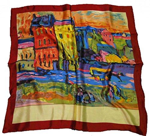 Avenella Edles SEIDENTUCH in künstlerischem Design Damentuch Halstuch aus 100% Seide ca. 90x90 cm -