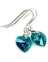 Azul turquesa Pendientes 10 mm y corazones de cristal de Swarovski de la caja de regalo de la joyería 2# Diosa #JSP