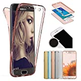 Sycode Galaxy J5 2016 360 Grad Handyhülle,Galaxy J5 2016 Full Body 2 in 1 Hülle,Modisch Ultra Dünn Front Back TPU Silikon Gel Stoßdämpfend Transparent Beidseitiger Vorne und Hinten 360°Double Doppelseitig Weich Komplette Slim Fit Full Handy Tasche Transparent Klar Protective Schale Etui Case Cover für Samsung Galaxy J5 2016-Rose Gold