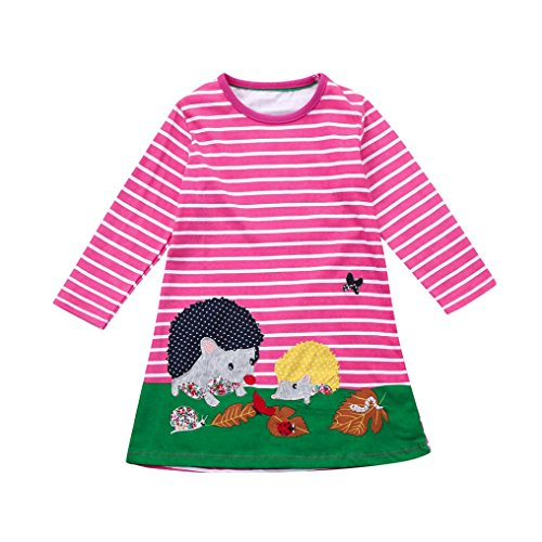 Grün Kleid Kinder Süße (JERFER Baby Kleinkind-Mädchen Langarm Herbst Karikatur Streifen Prinzessin Kleid 1-6T (4T, B))