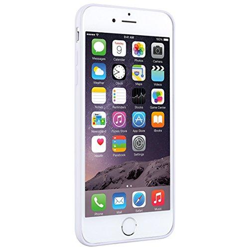 SMART LEGEND iPhone 6 Plus/iPhone 6S Plus Weiche Silikon Hülle Bumper & Transparent Backcover Matt PC Schutzhülle Harte Rückseite Handyhülle klare Etui Ultra Slim Design Glatt Handy Tasche Soft Case F Weiß Rahmen