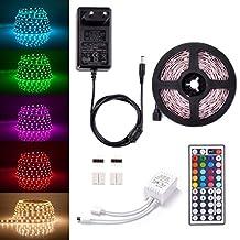 Sunix® Tira LED RGB 5 Metro, 150 LEDS 5050 SMD Tiras de LED Kit Completo con 44 Tecla IR Remoto y Adaptador Ideal para Decoración del Partido Fiesta