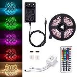 Sunix LED Streifen Set, 5M Strip lights mit 60 RGB LEDs (SMD 5050), DIY-Beleuchtung, Nicht Wasserdicht, Inklusive Netzteil 12V 2A und 44 Tasten IR-Fernbedienung, LED Lichtband
