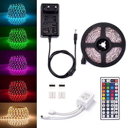 Sunix® LED Streifen Set, 5M Strip lights mit 150 RGB LEDs (SMD 5050) , DIY-Beleuchtung, Nicht Wasserdicht, Inklusive Netzteil 12V 3A und 44 Tasten IR-Fernbedienung, LED Lichtband
