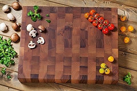 Gourmet Chopping Boards Planche à découper rectangulaire fine en bois de noyer 40x 50x 8cm