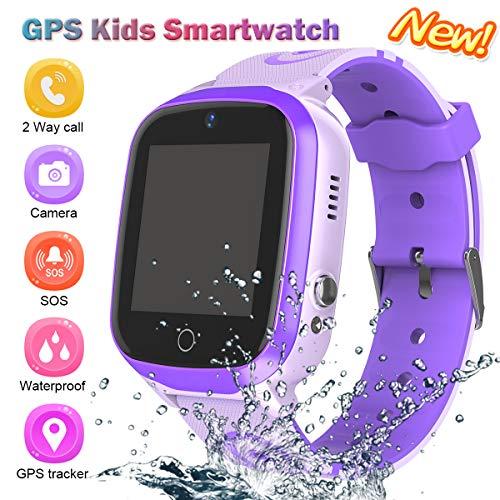 GPS Uhr Telefon,Kinder Smart Watch,GPS Smartphone für Jungen Mädchen - Uhr mit SOS Voice Anruf Sprachnachricht SOS Taschenlampe Digital Kamera Armbanduhr Geschenk für die Schule (Violett)