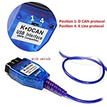BMW K+DCAN USB Modified-1998 to 2017 E38 E46 E50 E53 E60 E61 E63 E64 E83 E90 E91 etc.USB OBD II DiagnositicCable, with Switch Interface INPA K+DCAN ISTA ISID GT1 Progman