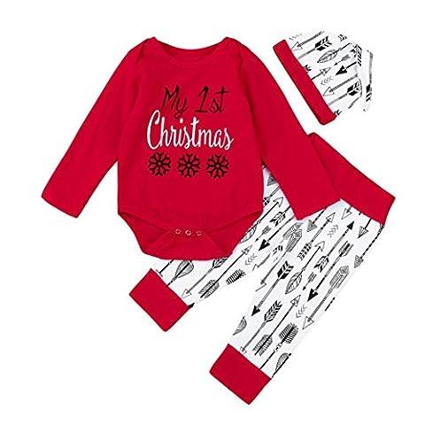 Weihnachten Geschenkideen Neugeboren Kinder 3 Stück Outfits Kleider Set Babyausstattung Baby rot Mein erstes weihnachten Drucken Spielanzug + Hose + Hut Schöne URSING weihnachtsgeschenke (6M, Rot)