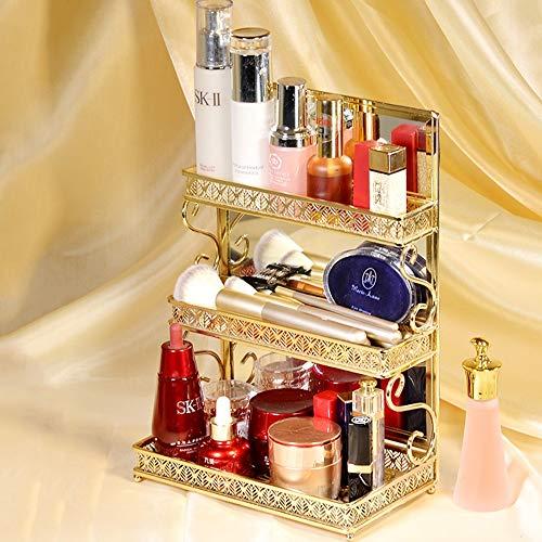 3 Tiers Eisen-Kunst-Make-up Organizer Aufsatz- Glas Make Up Caddy Shelf Kosmetik Organizer Box mit rückseitigem Spiegel Lippenstift Regal for Badezimmer Dresser Vanity -Gold