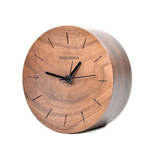 Beladesign Reloj Despertador con alarma Madera Silencioso Nuez