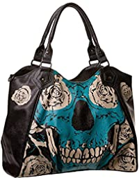 Banned–Mujer Calavera y rosas–Bolso Hombro–Blue Skull Shopper bolso de piel sintética