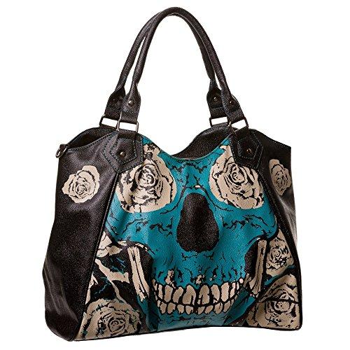 Banned Teschio e Rose borsa a mano borsa a tracolla da donna-Blue Skull manici Shopper borsa in similpelle