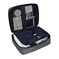 Tskybag Print Waterproof Cosmetic Makeup Bag Case Travel Toiletry Organizer Storage with Detachable Clear Compartment- 5 Compartments (Blue Star)