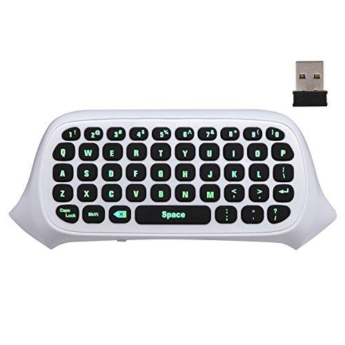 MoKo Xbox One Mini Green Hintergrundbeleuchtung Tastatur, 2.4G Empfänger Wireless Chatpad Message Game Tastatur Tastatur, mit Headset und Audio Jack, für Xbox One / Xbox One S / Xbox One Elite Controller, Weiß
