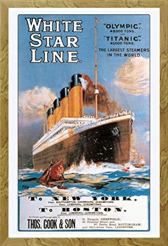 Acryl White Star (Titanic - White Star Line - Poster Druck 61x91,5 cm + Wechselrahmen, Shinsuke® Maxi MDF Eiche, Acryl-Scheibe)