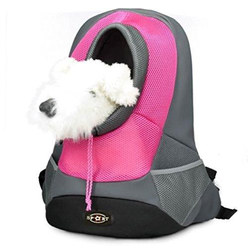 Mochila para gatos, Goodid mochila bolsa bolso hombro para llevar mascotas gatos y perros a salir y viajar con abertura (Rojo, 37*26*13cm)