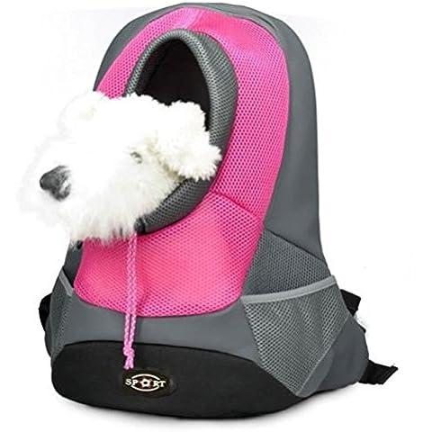 Goodid mochila bolsa bolso hombro para llevar mascotas gatos y perros a salir y viajar con abertura (Rojo,