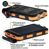 wasserdichte 10000mAh Solar Power Bank, Solar Ladegerät, Externer Akku mit superhelle Taschenlampe, Akku pack für Handy (Schwarz-Orange) - 3