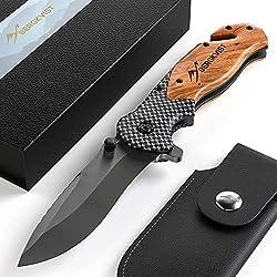 BERGKVIST® 3-en-1 couteau pliant K19 couteau tranchant I Couteau de poche avec poignée en bois et lame en titane en acier inoxydable I Couteau de survie avec pierre d'affûtage & étui de ceinture