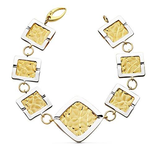 Gold Damen-Armband bicolor 18K Rhombus matt und glanz