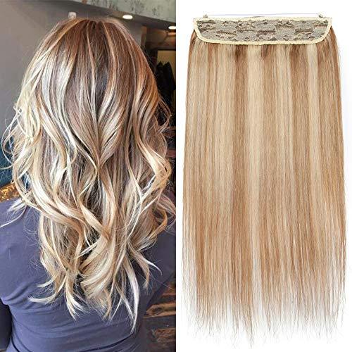 """TESS Echthaar Extensions Haarteile 1 Tresse Doppelt Dicke Draht komplette Haarverlängerung guenstig Haar Extensions Glatt 18""""(45cm)-100g #12/613 Hellbraun/Blond"""