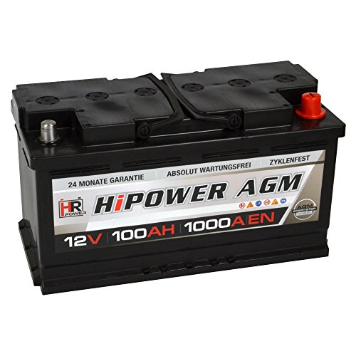 HR HiPower AGM Autobatterie 12V 100Ah 1000A/EN Starterbatterie ersetzt 90Ah 92Ah 95Ah