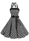 Timormode Sexy Robe Vintage Année 40 50 60 Robe de Cocktail Rockabilly Décolleté 10212Big Black White M