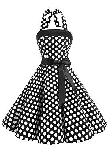 Timormode 10212 1950er Knielang Vintage Kleid Retro Cocktailkleid Neckholder Swing Faltenrock S Groß Schwarz Weiß