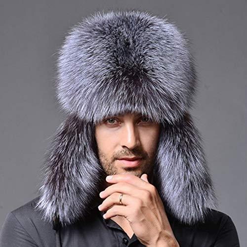 HENLOOO Pelz Männer und Frauen Hüte, Winter im Freien Winddicht warm verdickende Lei Feng Hut,Gray