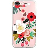 Pacyer Coque iPhone 7/7 plus Coque Transparente Motif Premium Feuille TPU Souple Etui Protection absorbant chocs Ultra mince Anti-rayures iPhone 8/8 plus (iPhone 7/iPhone 8, Blanc fleur)