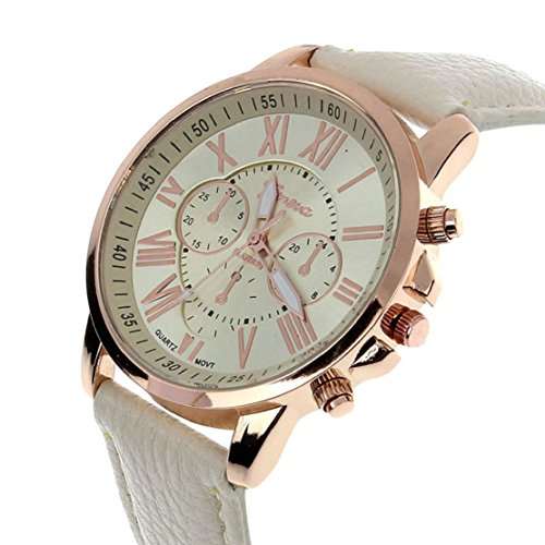 Tonsee 11 Farben 2015 neue Fashion Damen Uhren in römische Ziffern Faux Leder Analog Quarz Frauen Männer lässig Relogio Stunden Armbanduhr (beige)