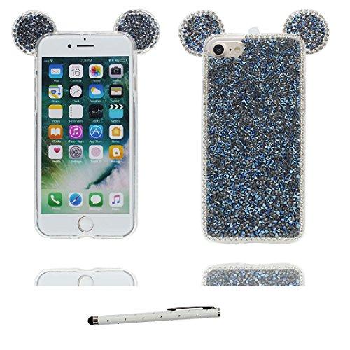 Coque iPhone 7, [TPU Flexible Bling Diamonds Cute Ear] iPhone 7 étui Cover (4.7 pouces), iPhone 7 Case, anti- chocs- 3D Oreille de souris Cartoon Mouse ear & stylet Noir # 5