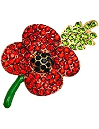 Red Poppy Flowers Brooch Pin Badge Glitter Soldier Enamel Lapel Plating Pin Gift Remembrance Day Green Leaf
