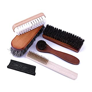 Shoe Shine Cleaning Care Horsehair Brush Kit 6 Piece Bundle: 2 Horse Hair Brush, 1 Suede Leather Brush,1 Copper wire brush, 1 Suede Polishing Cloth for Boots and Shoes & Other Leather Care by Abimars