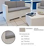 Divano con Poltrone e Tavolino / Salotto / Salottino in Polyrattan per Esterno / Arredo Giardino - Mod. Dubai bianco