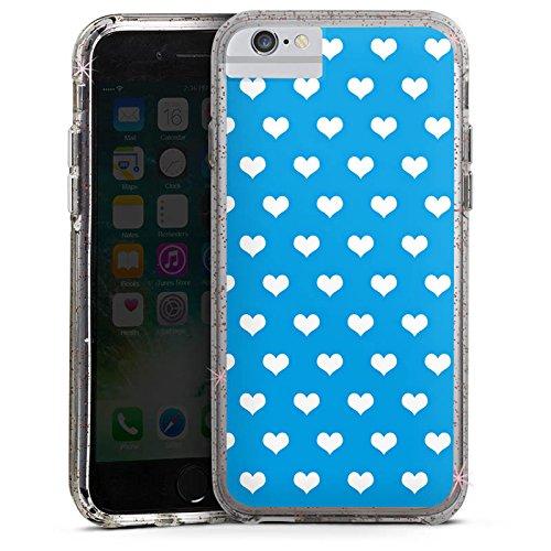 Apple iPhone 8 Bumper Hülle Bumper Case Glitzer Hülle Herz Heart Blau Bumper Case Glitzer rose gold
