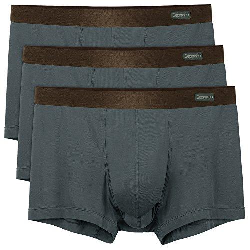 Separatec 3 Pack Herren solide Basic weiche und atmungsaktiver Beutel Unterwäsche Unterhose (L, Dunkelgrau)