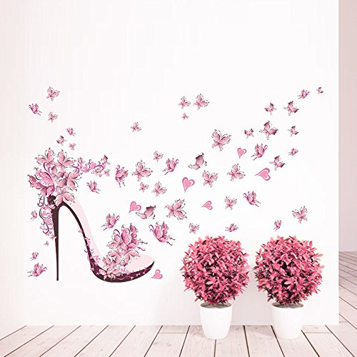 Preisvergleich Produktbild RUIPENGPENG Wandbild Zitat Aufkleber Aufkleber wasserdicht Abnehmbare für Wohnzimmer TV Hintergrund Kinder Baby Nursery Pink Butterfly high-Heel Schuhe Hintergrund 45 * 60 cm