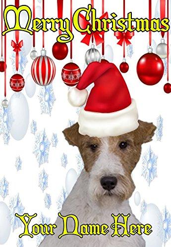 Fox Terrier Hund ptcc149Santa Hat Xmas Weihnachten Karte A5personalisierbar Karten geschrieben von uns Geschenke für alle 2016von Derbyshire UK... (Fox Terrier Hat)