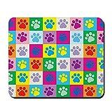CafePress–Hund Pfoten Muster Patchwork–rutschfeste Gummi Mauspad, Gaming Maus Pad