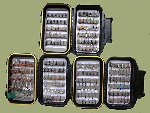 200Forelle Fliegen, geeignet für River Fly Angeln, Mix von Typen und Größen, 3Box-Set für Fliegenfischen