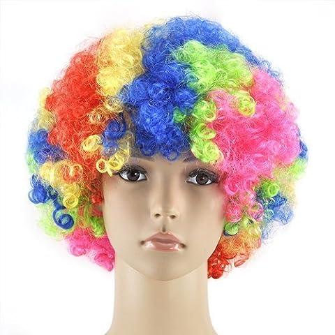Accessotech bouclé Déguisement Afro Perruques Funky Disco Clown Style Pour Hommes/Femmes déguisement 70s Cheveux - Multicolore, Taille unique