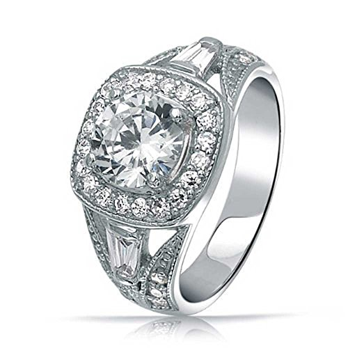 Bling Jewelry Sterling Silber 2 ct-Frühstück im antiken Stil CZ Engagement - Vintage Cz-verlobungsringe Stil