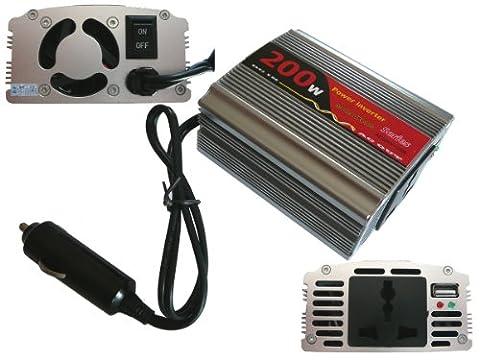 Convertisseur de Tension 12V en 220V (inverseur AC - DC) - PUISSANCE 200 WATTS (400W en Crête) - Profitez d'une prise secteur en 220V dans votre automobile ! - Branchement sur prise allume cigare - BOITIER