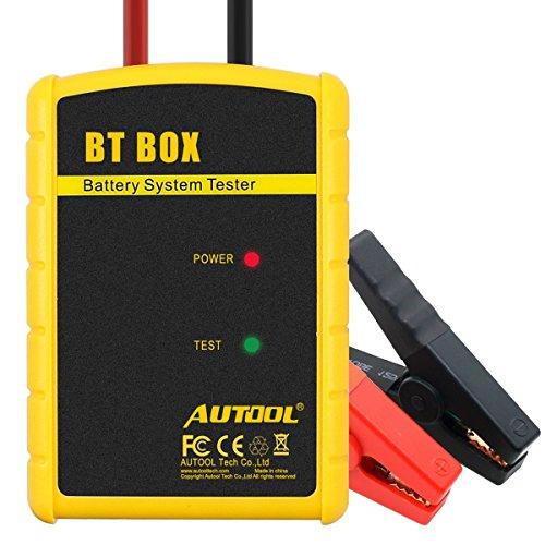 Comprobador de batería para coche Autool BT. Caja de comprobador de batería directo de 12 V controlado por aplicación 100–1400Amperios de arranque en frío. Función bluetooth con sistema de carga analizador de estado. Función de prueba del sistema de carga, apto para Android y Sistema IOS.